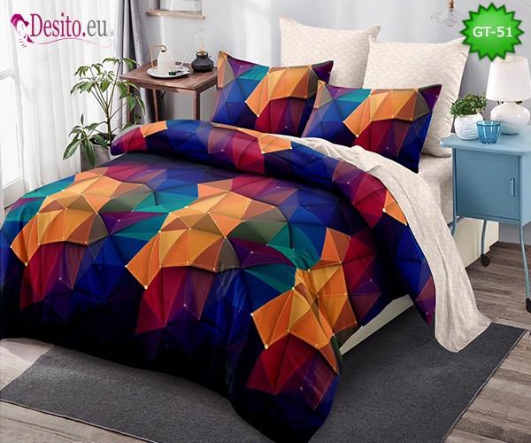 Спално бельо от 100% памук, 6 части и чаршаф с ластик с код GT-51