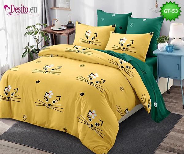 Спално бельо от 100% памук, 6 части и чаршаф с ластик с код GT-53