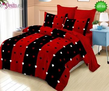 Спално бельо от 100% памук, 6 части и чаршаф с ластик с код GT-55