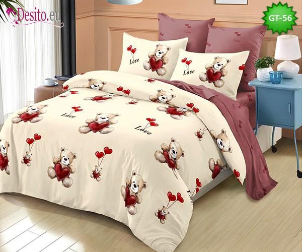 Спално бельо от 100% памук, 6 части и чаршаф с ластик с код GT-56