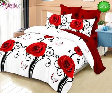 Спално бельо от 100% памук, 6 части и чаршаф с ластик с код GT-57