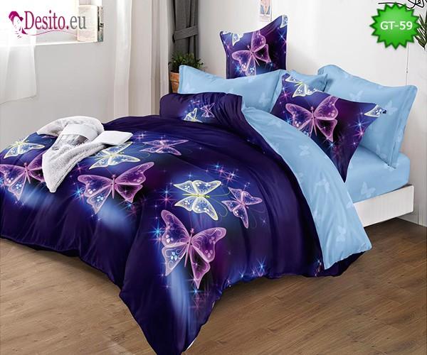 Спално бельо от 100% памук, 6 части и чаршаф с ластик с код GT-59