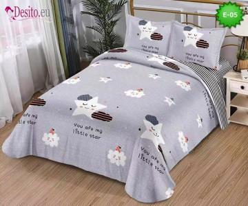 Спално бельо от 100% памук, 4 части и чаршаф с ластик с код E-05