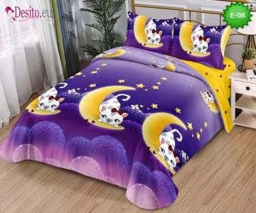 Спално бельо от 100% памук, 4 части и чаршаф с ластик с код E-08