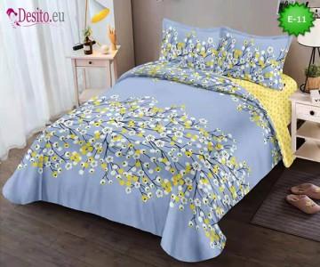 Спално бельо от 100% памук, 4 части и чаршаф с ластик с код E-11