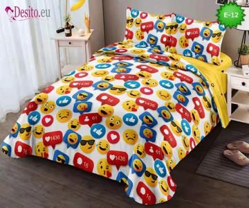 Спално бельо от 100% памук, 4 части и чаршаф с ластик с код E-12