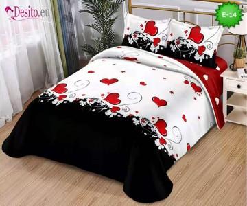 Спално бельо от 100% памук, 4 части и чаршаф с ластик с код E-14