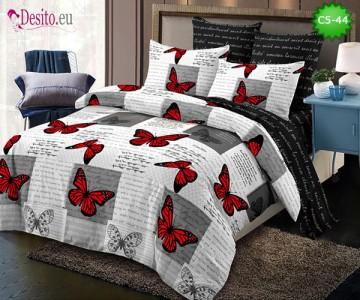 Спално бельо от 100% памук, 6 части и чаршаф с ластик с код C5-44