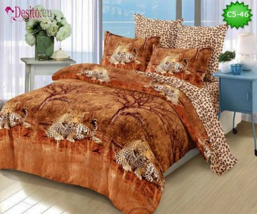 Спално бельо от 100% памук, 6 части и чаршаф с ластик с код C5-46