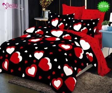 Спално бельо от 100% памук, 6 части и чаршаф с ластик с код C5-48