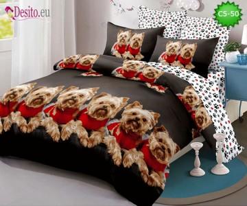 Спално бельо от 100% памук, 6 части и чаршаф с ластик с код C5-50