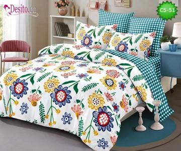 Спално бельо от 100% памук, 6 части и чаршаф с ластик с код C5-51