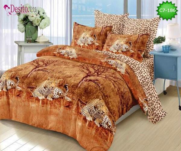 Спално бельо от 100% памук, 6 части - двулицево, с код C7-186