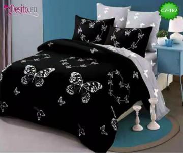 Спално бельо от 100% памук, 6 части - двулицево, с код C7-187