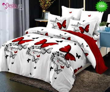 Спално бельо от 100% памук, 6 части, двулицево с код 584