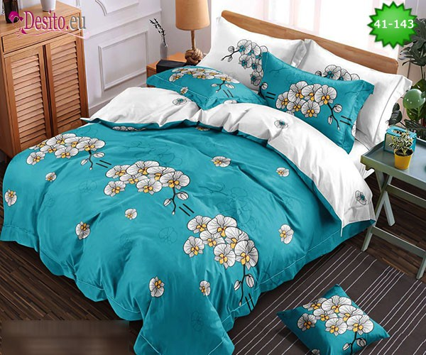 Спално бельо от 100% памук, 6 части - двулицево, с код 41-143