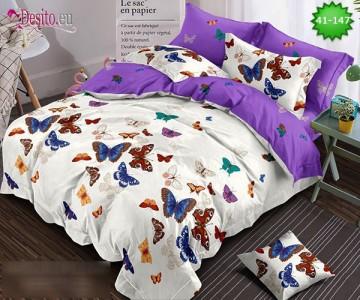 Спално бельо от 100% памук, 6 части - двулицево, с код 41-147