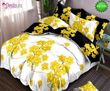 Спално бельо от 100% памук, 6 части - двулицево, с код 41-151
