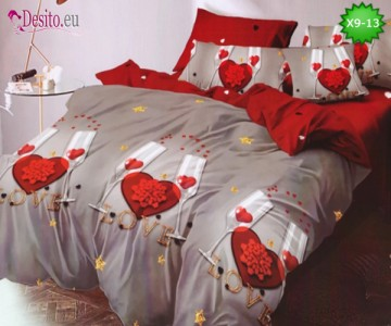 Спално бельо от 100% памук, 6 части - двулицево, с код X9-13