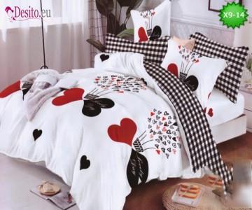 Спално бельо от 100% памук, 6 части - двулицево, с код X9-14