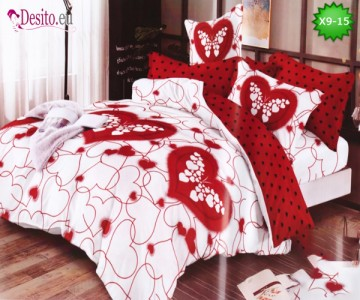 Спално бельо от 100% памук, 6 части - двулицево, с код X9-15