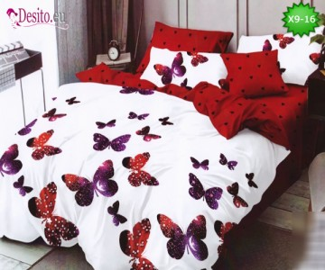Спално бельо от 100% памук, 6 части - двулицево, с код X9-16