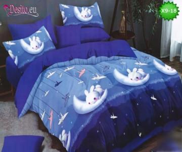 Спално бельо от 100% памук, 6 части - двулицево, с код X9-18