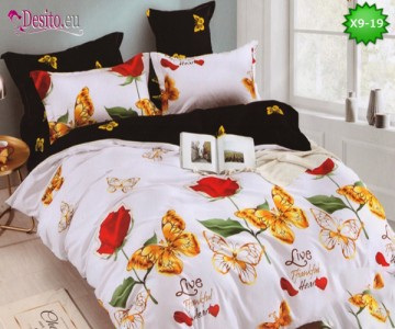 Спално бельо от 100% памук, 6 части - двулицево, с код X9-19