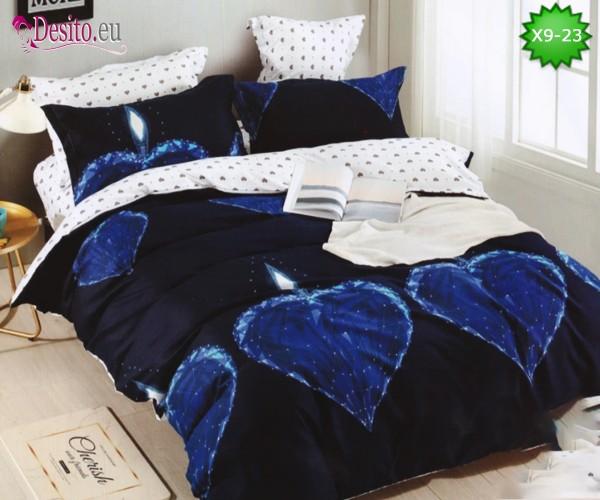 Спално бельо от 100% памук, 6 части - двулицево, с код X9-23