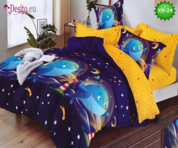 Спално бельо от 100% памук, 6 части - двулицево, с код X9-24