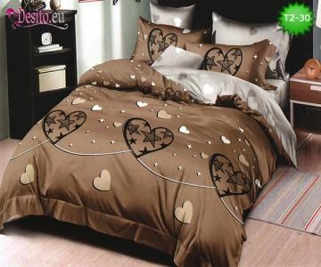 Спално бельо от 100% памук, 6 части - двулицево, с код T2-30