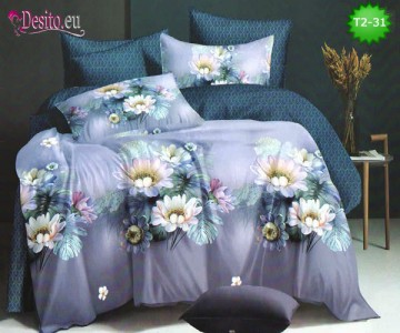 Спално бельо от 100% памук, 6 части - двулицево, с код T2-31