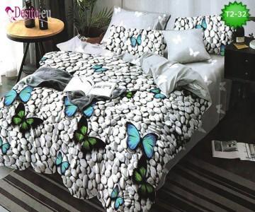 Спално бельо от 100% памук, 6 части - двулицево, с код T2-32
