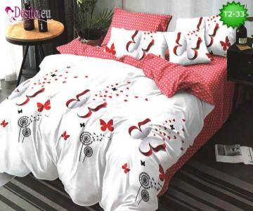 Спално бельо от 100% памук, 6 части - двулицево, с код T2-33