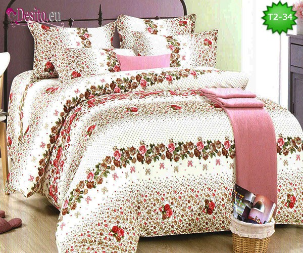 Спално бельо от 100% памук, 6 части - двулицево, с код T2-34