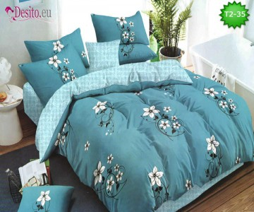 Спално бельо от 100% памук, 6 части - двулицево, с код T2-35