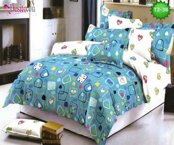 Спално бельо от 100% памук, 6 части - двулицево, с код T2-38