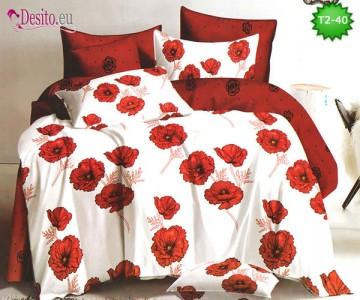 Спално бельо от 100% памук, 6 части - двулицево, с код T2-40