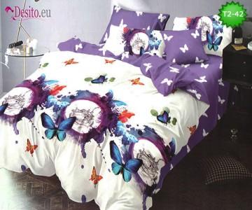 Спално бельо от 100% памук, 6 части - двулицево, с код T2-42