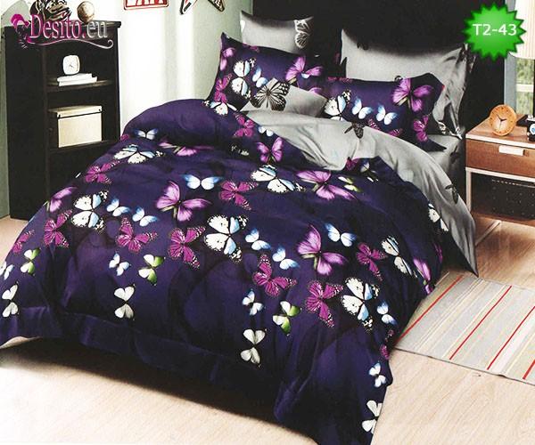 Спално бельо от 100% памук, 6 части - двулицево, с код T2-43