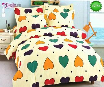 Спално бельо от 100% памук, 6 части - двулицево, с код T2-45