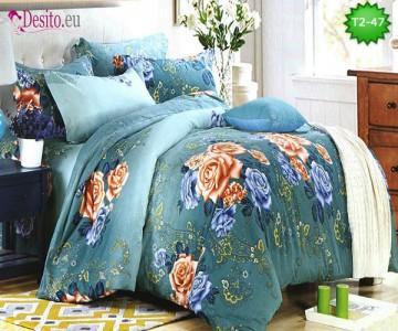 Спално бельо от 100% памук, 6 части - двулицево, с код T2-47