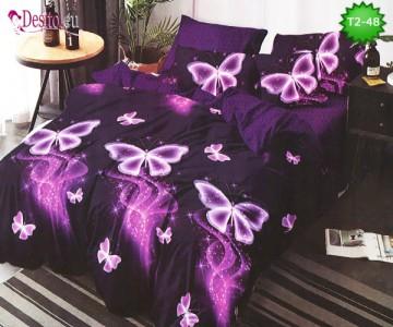 Спално бельо от 100% памук, 6 части - двулицево, с код T2-48