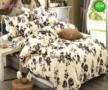 Спално бельо от 100% памук, 6 части - двулицево, с код T2-49