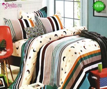 Спално бельо от 100% памук, 6 части - двулицево, с код T2-50