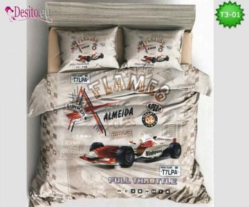 Спално бельо от 100% памук, 6 части - двулицево, с код T3-01
