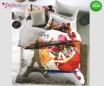 Спално бельо от 100% памук, 6 части - двулицево, с код T3-04