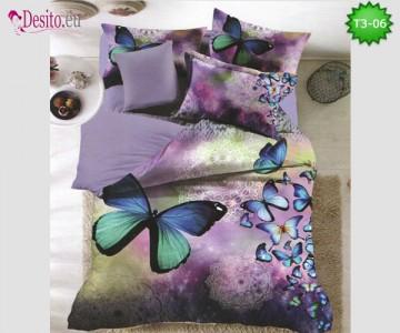 Спално бельо от 100% памук, 6 части - двулицево, с код T3-06