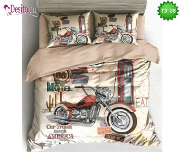 Спално бельо от 100% памук, 6 части - двулицево, с код T3-08
