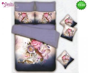 Спално бельо от 100% памук, 6 части - двулицево, с код T3-09